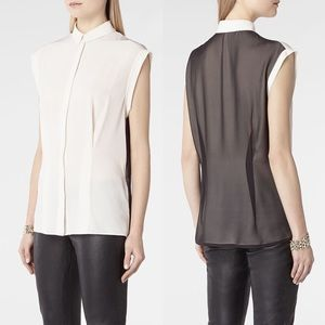 NEW! All Saints Two Tone Colorblock Silk Blouse